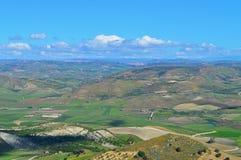 Wonderful Sicilian Landscape, Mazzarino, Caltanissetta, Italy, Europe. Wonderful Sicilian Landscape, Mazzarino, Caltanissetta, Green Sicilian Hills, Spring stock photo