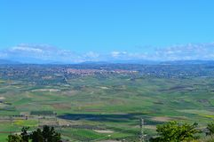 Wonderful Sicilian Landscape with Barrafranca in the Foreground, Mazzarino, Caltanissetta, Italy, Europe. Wonderful Sicilian Landscape, Mazzarino, Caltanissetta stock photos