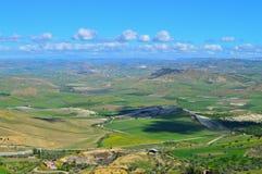 Wonderful Sicilian Landscape, Mazzarino, Caltanissetta, Italy, Europe. Wonderful Sicilian Landscape, Mazzarino, Caltanissetta, Green Sicilian Hills, Spring royalty free stock photos
