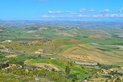 Wonderful Sicilian Landscape, Mazzarino, Caltanissetta, Italy, Europe. Wonderful Sicilian Landscape, Mazzarino, Caltanissetta, Green Sicilian Hills, Spring stock photography