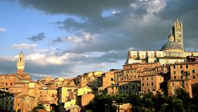Wonderful siena. Italy, beautiful view of Siena at sunset stock video footage