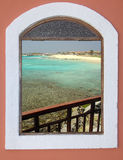 Wonderful sight from a window. Wonderful sight from the window, viewing a beach in Cape Verde Stock Image