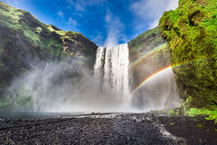 Wonderful Skogafoss waterfall, Iceland Royalty Free Stock Photography