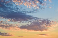 Wonderful sky at sunset. Beautiful sky and clouds at sunset background stock images