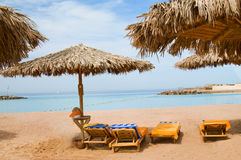 Wonderful solar beach in the Egypt. Royalty Free Stock Photos