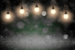 Wonderful sparkling glitter lights defocused bokeh abstract background with light bulbs and falling snow flakes fly, festival mock. Wonderful sparkling abstract stock illustration