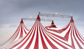 The wonderful spectacle of the circus. Four circus tents, red and white, spectacle stock photography