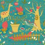 Wonderful Spring Garden Seamless Pattern vector illustration