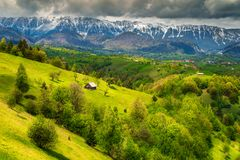 Wonderful spring landscape with snowy mountains near Brasov, Transylvania, Romania. Majestic alpine landscape with stunning green fields and high snowy Piatra stock photos