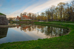 Wonderful springtime sunrise over Kuressaare town park Royalty Free Stock Photos