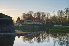Wonderful springtime sunrise over Kuressaare town park Stock Images