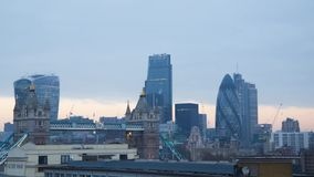 Wonderful steady time lapse panorama modern architecture cloudy cityscape view on London downtown Tower Bridge. Modern London downtown in time lapse view stock footage