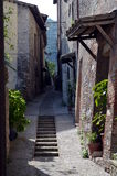 Wonderful street in small medieval town Stock Photo