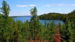 Wonderful summer day: Beautiful lake in the canadian forest. Wonderful summer day: Beautiful lake in canadian forest royalty free stock photos