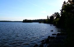 Wonderful summer day: Beautiful lake in the canadian forest. Wonderful summer day: Beautiful lake in canadian forest stock photo
