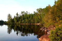 Wonderful summer day: Beautiful lake in Ontario - Greate for fishing, hiking and canoeing. Wonderful summer day: Beautiful lake in Ontario royalty free stock image