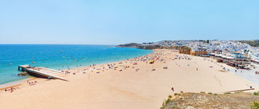 Wonderful summer panorama of sea and beach in Albufeira. Royalty Free Stock Images