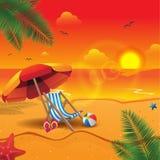 Wonderful summer sunset in the beach vector illustration