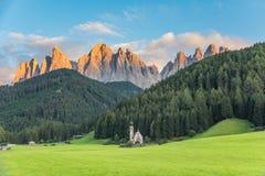 St Johann Church, Santa Maddalena Dolomites Italy. Wonderful Sunny Landscape of Dolomite Alps. St Johann Church, Santa Maddalena, Val Di Funes, Dolomites, Italy stock image