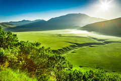 Wonderful sunrise in the Castelluccio, Umbria royalty free stock photography