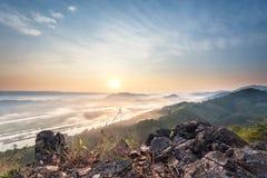Wonderful sunrise landscape at mountain summit stock images