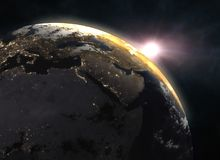 Wonderful sunrise over the Earth - Europe. Elements of this image furnished by NASA. 3d illustration Royalty Free Stock Photography
