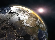 Wonderful sunrise over the Earth - Europe. Elements of this image furnished by NASA. 3d illustration Stock Photography