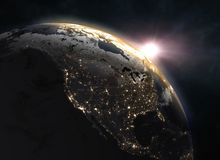 Wonderful sunrise over the Earth - North America. Elements of this image furnished by NASA. 3d illustration Stock Photo