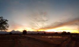 Wonderful sunrise on the volcanoes of the Andean cordillera, Atacama Desert, Chile. Sunrise lights in the arid and desolate landscape of the Atacama Desert and royalty free stock photo