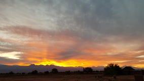 Wonderful sunrise on the volcanoes of the Andean cordillera, Atacama Desert, Chile. Sunrise lights in the arid and desolate landscape of the Atacama Desert and stock image