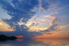 Wonderful sunset. Beautiful sunset with wonderful clouds , lake Baikal Royalty Free Stock Photography