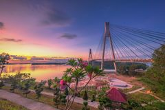 Free Wonderful Sunset At Barelang Bridge Batam Island Indonesia Stock Images - 144210314