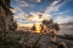 A wonderful sunset on the Baltic coast. Concept: vacation and travel royalty free stock images