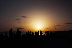 Wonderful sunset celebrated by many people at Pirata Bus Bar in Formentera, BalearicIslands, Spain Stock Photography