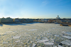 Sunset landscape with the ice drift in Helsinki Stock Photography