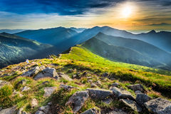 Wonderful sunset in mountains in summer Royalty Free Stock Photo