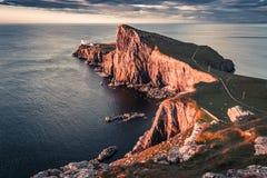Wonderful sunset at the Neist point lighthouse, Scotland, UK. Europe Royalty Free Stock Photos