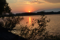 Wonderful sunset over forest. Wonderful sunset over the forests on the banks of the Danube River. Colored rays of the sunset reflected in the waters of the royalty free stock image