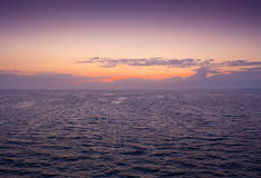 Wonderful sunset over the ocean, where sailing Stock Photo