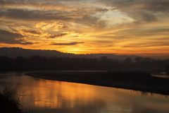 Wonderful sunset over the river Royalty Free Stock Photo