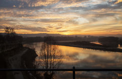Wonderful sunset over the river Stock Image