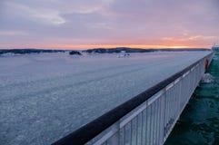 Wonderful sunset over Stockholm archipelago by winter Stock Photography