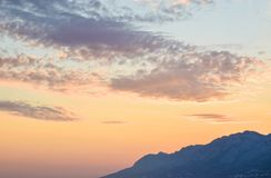 Wonderful sunset. On the Punta Rata Beach, Brela, Croatia royalty free stock photos