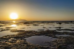 Wonderful sunset in Sharm-El-Sheikh, Egypt over Tiran island, Re royalty free stock photography