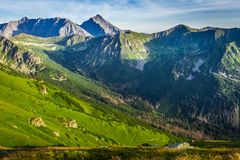 Wonderful sunset in the Tatra Mountains in Poland Stock Photos