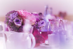 Wonderful table decoration waiting for guests. High class arrangement for e.g. a wedding, birthday or business meeting Stock Photos