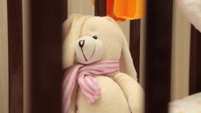 A wonderful Teddy bear in baby cot stock footage