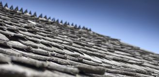 Wonderful texture of a wooden rooftop of an old medieval house i. N Csernat, Transylvania, Romania stock photography