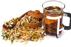 Wonderful Thai herbal tea with Pandan and Lemongrass. Studio Photo stock photo