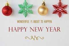 Wonderful is about to happen, happy new year quotation royalty free stock image